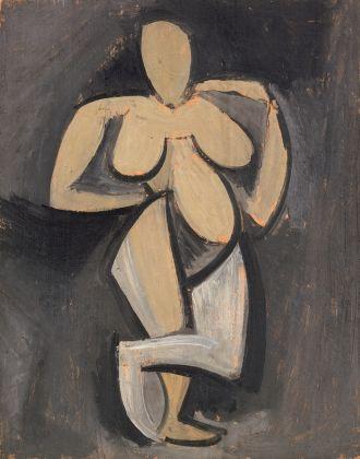 Pablo Picasso, Mujer de pie con una mano en la cadera París, primavera 1908 © Fundación Almine y Bernard Ruiz-Picasso para el Arte © FABA Photo Éric Baudouin © Sucesión Pablo Picasso, VEGAP, Madrid, 2017