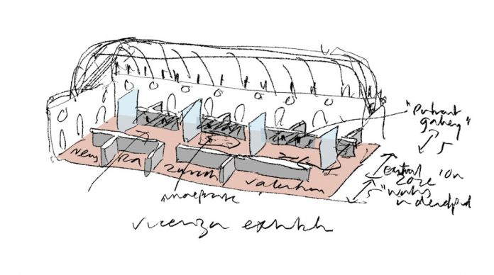 Un disegno di David Chipperfield dell'allestimento della mostra alla Basilica palladiana
