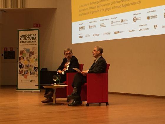 Orhan Pamuk e Salvatore Settis, Auditorium Testori Sede Regione Lombardia, Milano, 18 gennaio 2018. Photo by Caterina Porcellini