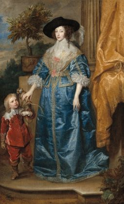 Sir Anthony van Dyck (Flemish, 1599 - 1641 ), Queen Henrietta Maria with Sir Jeffrey Hudson, 1633, oil on canvas, Samuel H. Kress Collection 1952.5.39