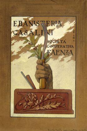 """Achille Calzi, Disegno per la cartolina """"Ebanisteria Casalini Società Cooperativa Faenza"""", 1904, matita e tempera su carta, collezione privata"""