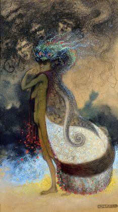Achille Calzi, Fiore del Male (Les fleurs du mal), 1913, tecnica mista su carta, collezione MIC Faenza