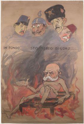 Achille Calzi, Francesco Giuseppe (morto nel 1916) nella graticola dell'Inferno, 1918, tecnica mista su carta, collezione MIC Faenza