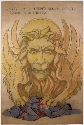 Achille Calzi, Il leone di San Marco artiglia il soldato (o l'imperatore) austriaco, 1918, tecnica mista su carta, collezione MIC Faenza
