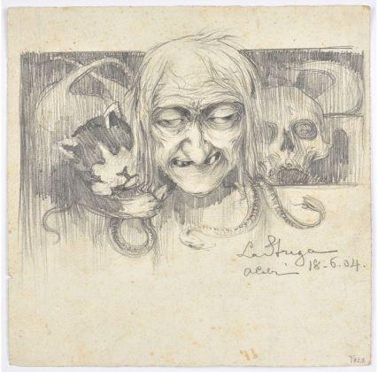 Achille Calzi, La strega, 1904, matita su carta, collezione MIC Faenza
