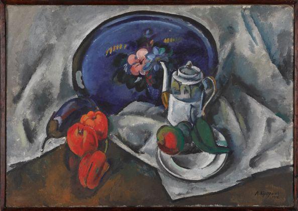 Aleksandr Kuprin, Natura morta con vassoio blu, 1914