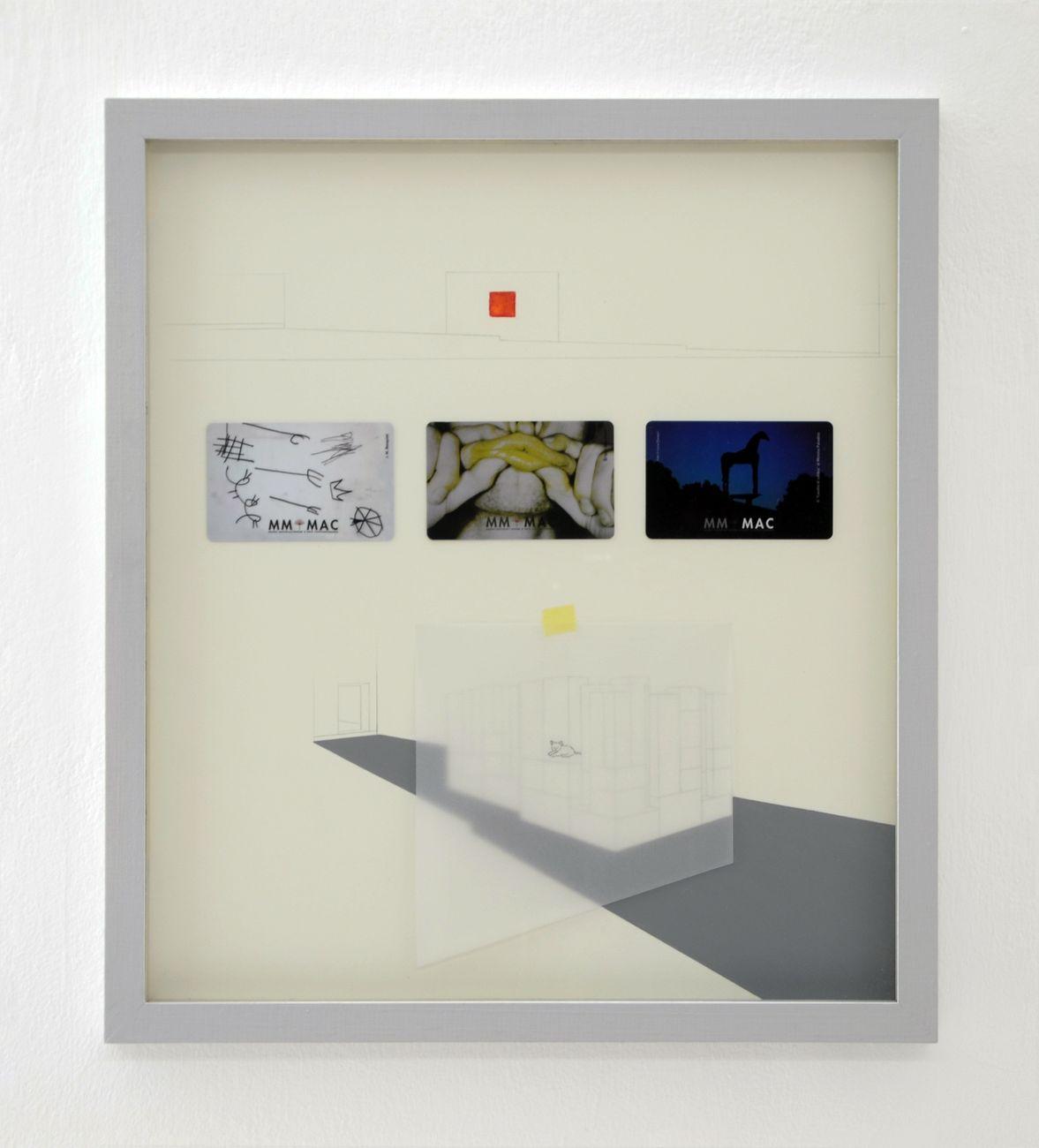 Antonio Della Guardia, Project #3, 2014, grafite, tessere MMMAC, materiale vario su carta, 40 x 35 cm. Courtesy l'artista e Galleria Tiziana Di Caro, Napoli