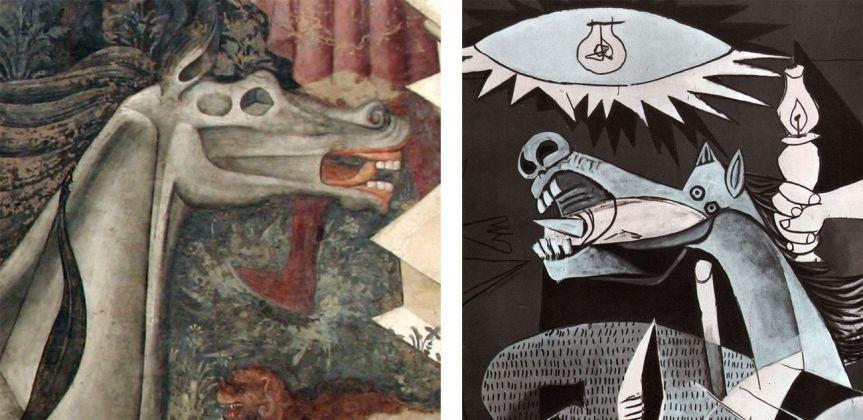 Confronto particolari tra il Trionfo della Morte e Guernica di Pablo Picasso (1937, Madrid, Museo Nacional Centro de Arte Reina Sofía)