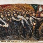 David Alfaro Siqueiros, Primera nota temática para el mural de Chapultepec, ca. 1956-57, Piroxilina su legno compresso, Museo de Arte Carrillo Gil