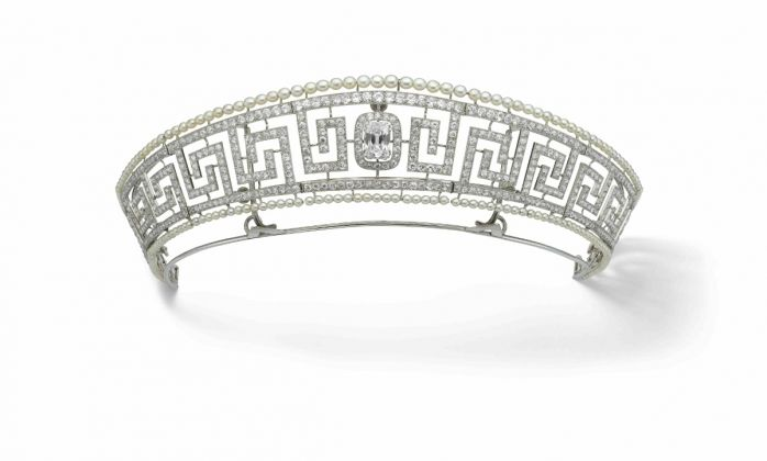 Diamond and pearl tiara saved from the Lusitania, Cartier 1909. Previously owned by Lady Marguerite Allan. Marian Gérard, Cartier Collection © Cartier