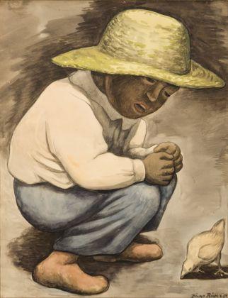 Diego Rivera, Niño con pollito, 1935, Disegno a carboncino e acquerello, Colección Museo de Arte del Estado de Veracruz
