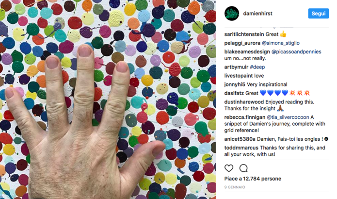 Damien Hirst, Profilo Instagram