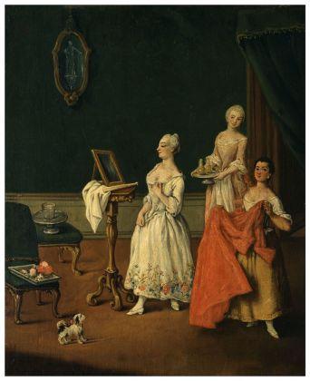 Falca Pietro detto Longhi, La toletta, 1755-60. Olio su tela, 61 x 50 cm. MUVE, Ca' Rezzonico – Museo del settecento veneziano. Courtesy MUVE, Venezia