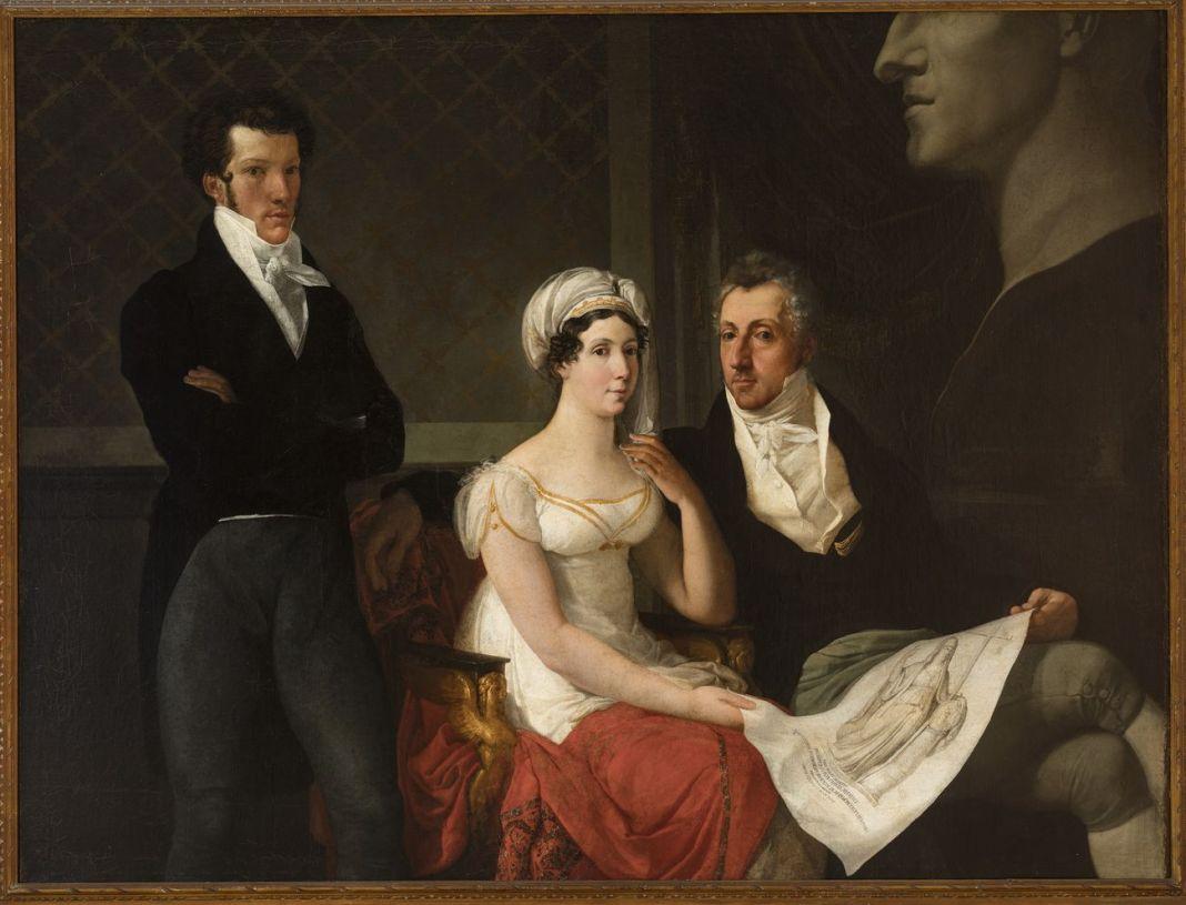 Francesco Hayez, Ritratto della famiglia Cicognara, con il busto colossale di Antonio Canova, 1816-17. Venezia, casa privata
