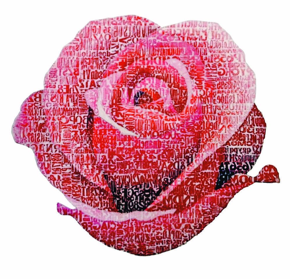 G. Milani, Una rosa sola è tutte le rose, omaggio a Rainer Maria Rilke, frottage di colori a olio su tela
