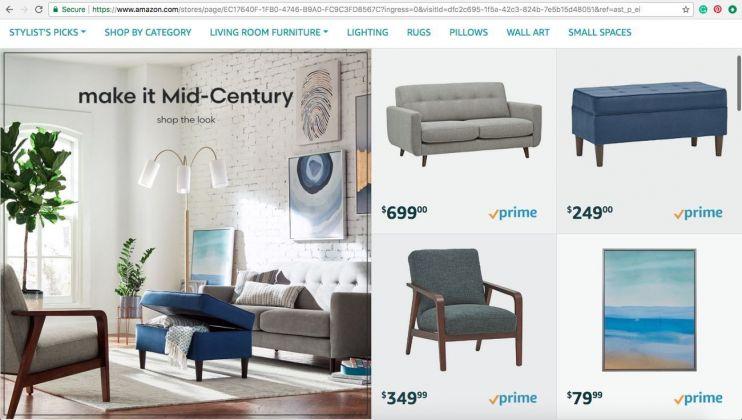Il sito online di vendita dei mobili Amazon. Serie Rivet