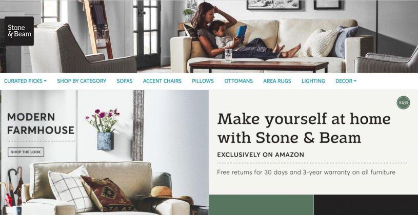 Il sito online di vendita dei mobili Amazon. Serie Stone & Beam