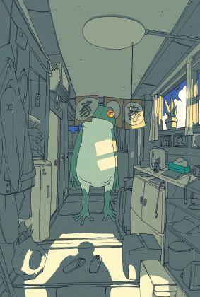 Illustrazione di Lorenzo Ceccotti per Murakami Haruki – Ranocchio salva Tokyo (Einaudi, Torino 2017)
