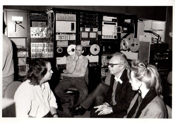 John Samborn e Gianni Toti, 1987. Courtesy Archivio La Casa Totiana gestione Poetronicart