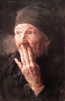 Karoline Kubin, Testa di donna anziana con mano sulla bocca. Belvedere, Vienna