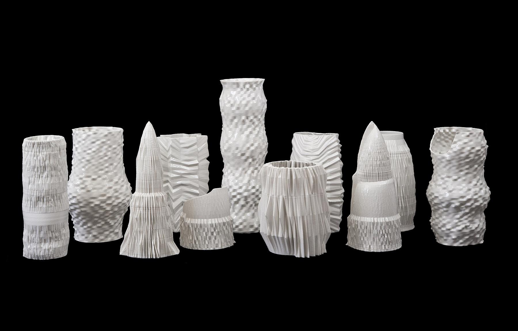 Matteo Nasini, Sparkling Matter, 2016, sculture in porcellana realizzate tramite stampante 3D