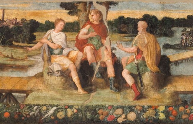 Nicolò dell'Abate, L'incontro dei triumviri Ottaviano, Antonio e Lepido (particolare), dipinto murale su tela, 1546. Modena, Palazzo Comunale, sala del Fuoco