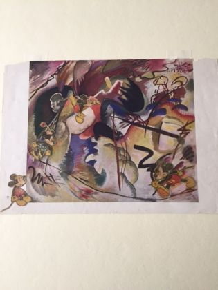 Oskar W. Fischinger, Senza titolo (Dipinto con forma bianca. Collage con personaggi di Walt Disney su una riproduzione da Kandinsky), 1938. Courtesy Elfriede Fischinger Trust