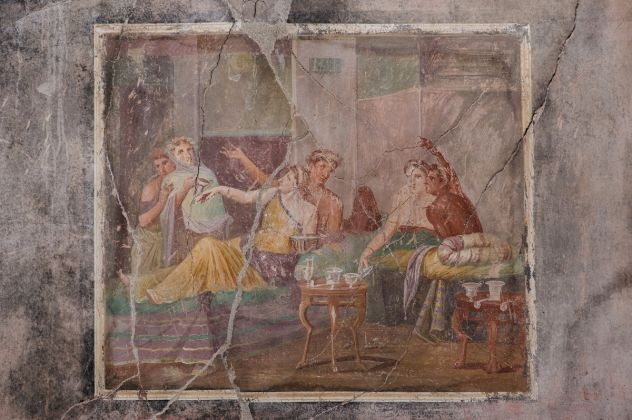 POMPEI, PARCO ARCHEOLOGICO CASA DEI CASTI AMANTI, AFFRESCO CON BANCHETTANTI, I secolo d.C.