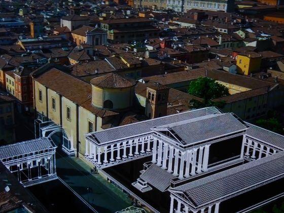 Ricostruzione virtuale di Mutina, il foro e il capitolium ricostruiti nella città contemporanea. A cura di Altair4 Multimedia