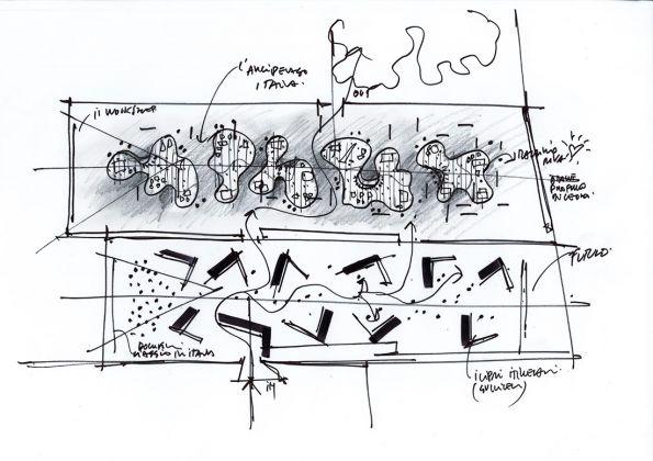 Schizzo dell'allestimento - Mario Cucinella