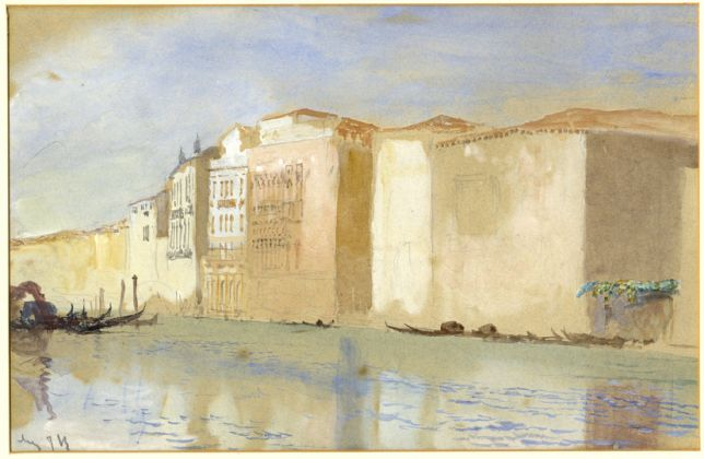 John Ruskin Venezia, Diga Marittima Matita, acquerello su carta, 298 x 491 mm Ruskin Foundation (Ruskin Library, Lancaster University), Lancaster © Ruskin Foundation, Lancaster