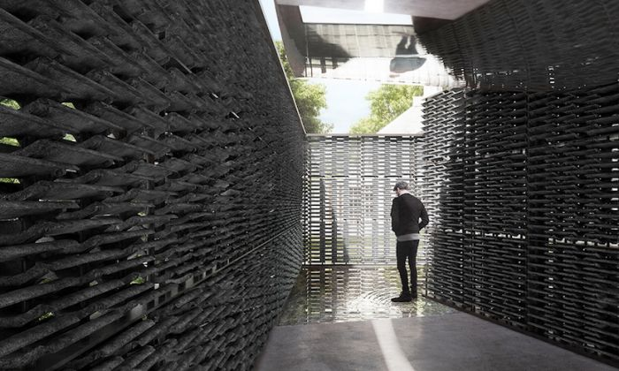 Serpentine Pavilion 2018 Designed by Frida Escobedo, Taller de Arquitectura, Design Rendering, Interior View © Frida Escobedo, Taller de Arquitectura, Renderings by Atmósfera