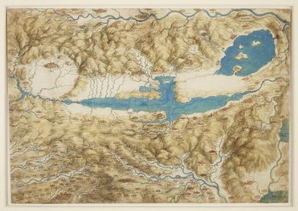 A Map of the Valdichiana, c.1503–4, watercolour, pen and ink, ink wash over black chalk