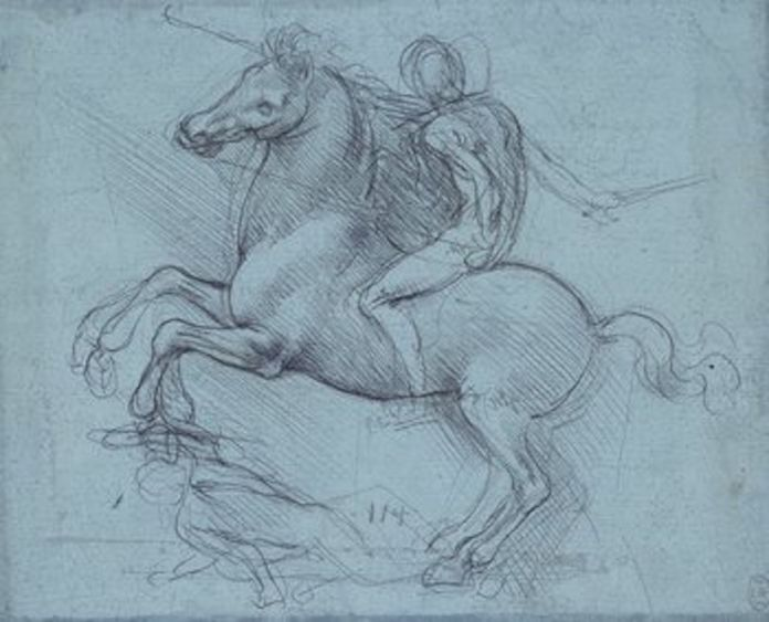 A design for an equestrian monument, c.1485–8, metalpoint on blue prepared paper