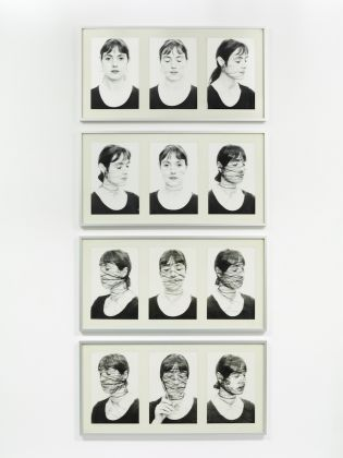 "Annegret SOLTAU 1946 - Selbst II, 1-12 (Self II, 1-12), 1975 12 Black and white photographs on baytra paper, mounted on cardboard Signed with the artist's monogram ""A.S"", dated ""75"" and numbered on front Each: 51.5 x 101.5 cm, Copyright the Artist. Courtesy of Richard Saltoun Gallery"