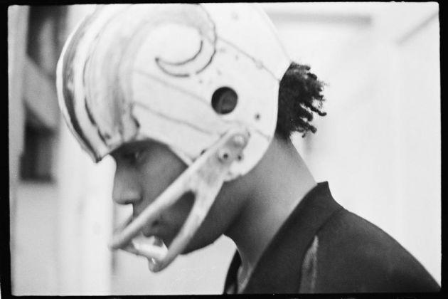 Basquiat performing in the apartment, c. 1979–1980. Photo Alexis Adler