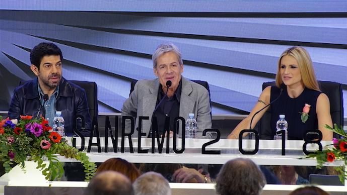 Sanremo 2018. I conduttori Pierfrancesco Favino, Claudio Baglioni e Michelle Hunziker