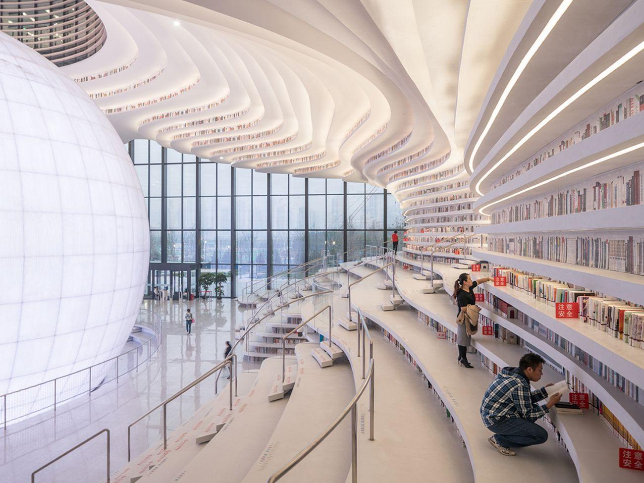 MVRDV, Tianjin Binhai Library, Tianjin, Cina. Courtesy Photo © Ossip van Duivenbode