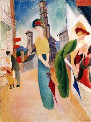 August Macke Zwei Frauen vor dem Hutladen, 1913 Öl auf Leinwand 56,2 x 42 cm Courtesy Heidi Horten Collection