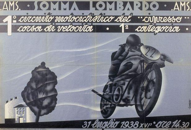 Manifesto di Ivanhoe Gambini, Primo circuito motociclistico del cipresso, 1938. Courtesy Fondazione Cirulli