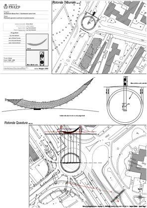 Mauro Staccioli, Prato '88. Mappatura per la ricollocazione dell'opera al centro della rotonda della Questura, Prato