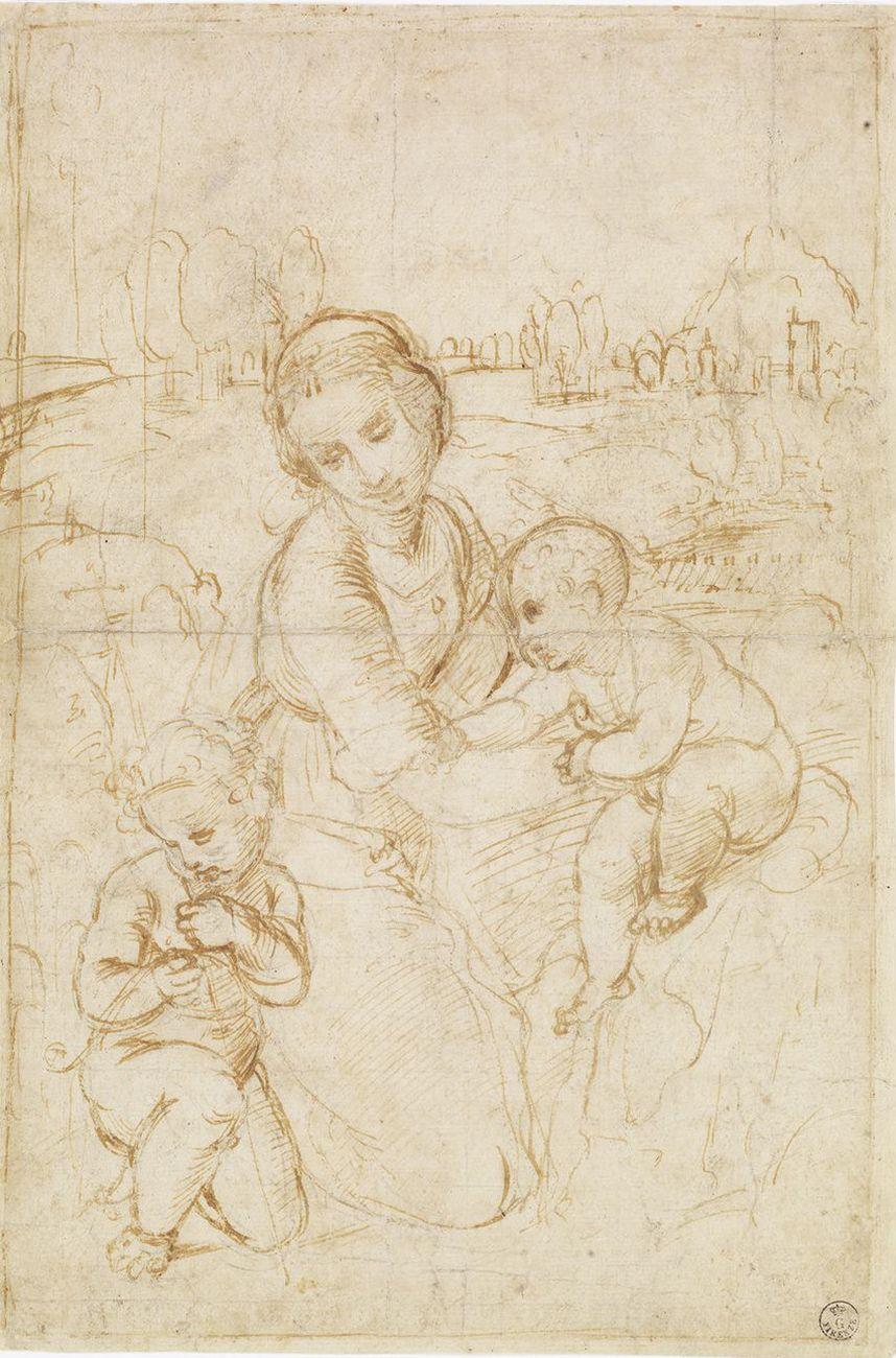 Raffaello, Madonna col Bambino e san Giovannino, 1508 ca. Firenze, Galleria degli Uffizi, Gabinetto Disegni e Stampe
