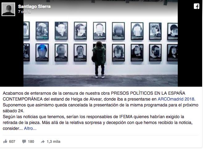 Post Facebook dell'artista Santiago Sierra