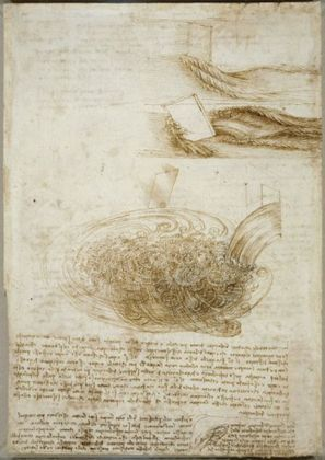 Studies of water, c.1510–12, black chalk, pen and ink