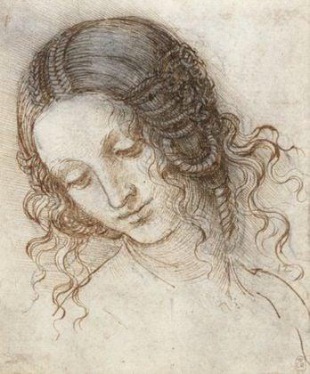 The head of Leda, c.1505–8, black chalk, pen and ink