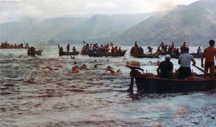 Traversata dello stretto di Messina, Capo Peloro - Punta Pezzo, gara internazionale di nuoto pinnato, Courtesy Archivio Fotografico Centro Nuoto Sub Villa