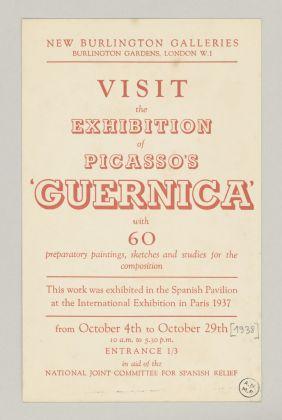 """Invitation à l'exposition """"Picasso's Guernica"""" (New Burlington Galleries, London, 4 - 29 octobre 1938), Octobre 1938, 21 x 13,5 cm, Musée national Picasso-Paris, 515AP/H/21/15 © RMN-Grand Palais / image RMN-GP ©Sucession Picasso 2018"""