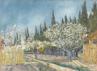Vincent van Gogh, Orchard bordered by cypresses, April 1888