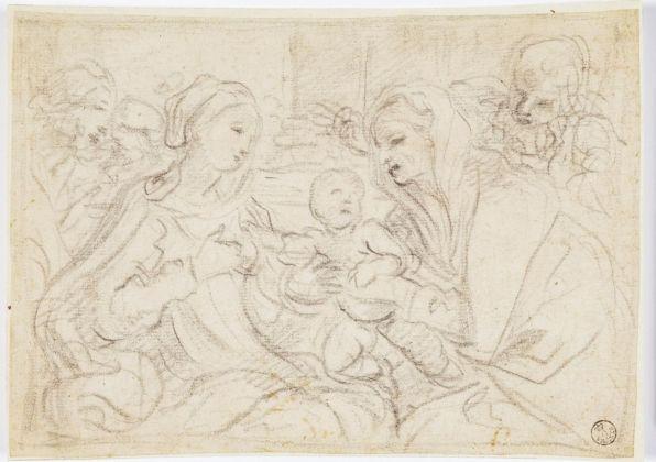 Elisabetta Sirani, Sacra Famiglia con Sant'Anna e San Gioacchino, 1662 ca. Firenze, Gallerie degli Uffizi, Gabinetto dei Disegni e delle Stampe