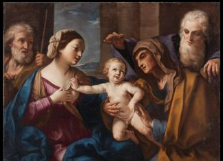 Elisabetta Sirani, Sacra Famiglia con Sant'Anna e San Gioacchino (Sacra Famiglia delle ciliegie), 1662 ca. Milano, Collezione privata
